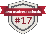 Shield and ribbon icon with text Best Business Schools #17