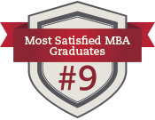 Shield and ribbon icon with text #9 Most Satisfied MBA Graduates